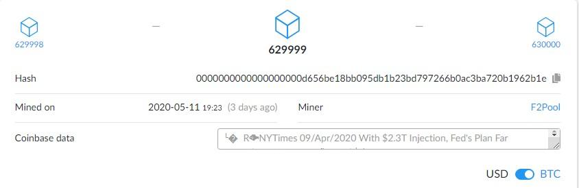 bitcoin halving date 2020 secret message